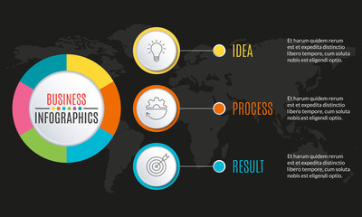 3 steps infographic design. Template for diagram, graph and chart. Timeline design with 3 levels, options, circles. Business presentation concept. Vector illustration.