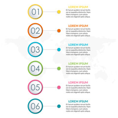 6 steps infographic design. Template for diagram, graph and chart. Timeline design with 6 levels, options, circles. Business presentation concept. Vector illustration.