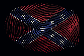 Flag of the Confederates in the form of a fingerprint on a black background
