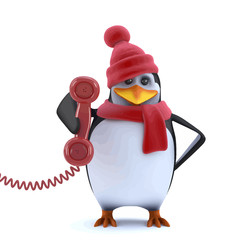 Vector 3d Christmas penguin answers the phone