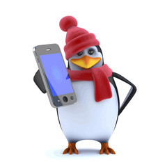 Vector 3d Christmas penguin has a new smartphone