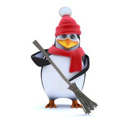 Vector 3d Winter penguin has attitude
