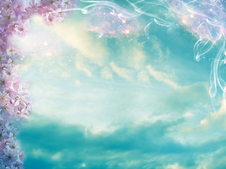 Obraz mystical mystic divine angelic background with pink flowers and stars, sky and clouds  - fototapety do salonu