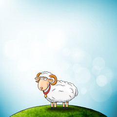 Cartoon Holy Sheep Character at the Hill with Sky Lights