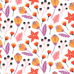 Seamless floral pattern with hand drawn wild flowers, leaves and herbs. Autumn design template. Vector wallpaper. Good for print.