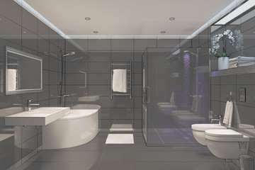 3d illustration of black shower room with overlay drawing