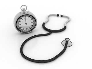 3d rendering stethoscope with stopwatch