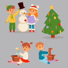 Christmas kids vector character playing winter games winter children holidays christmas tree cartoon new year xmas kid