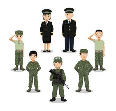 Military Characters Cartoon Vector Illustration