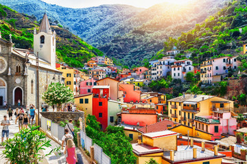 One of Cinque Terre villages - Riomaggiore. Landscape  in Liguria, Italy