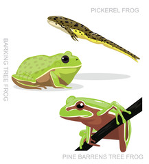 Pickerel Frog Set Cartoon Vector Illustration