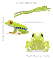 Red-Eyed Tree Frog Set Cartoon Vector Illustration