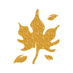 Maple leaf icon in gold glitter texture. Sparkle luxury style vector illustration.