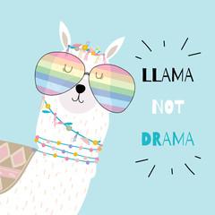 Blue hand drawn cute card with llama wear glasses