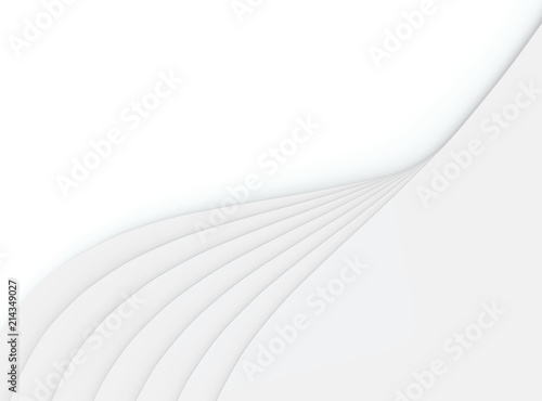 3d Rendering Modern Gray Overlay Curve Panels On White Copy Space