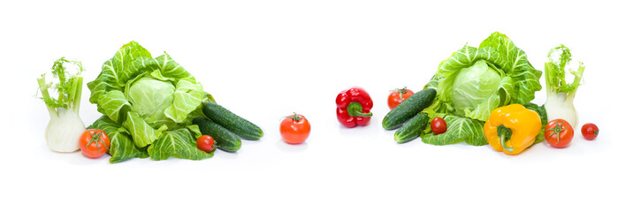 Panoramic view of a  Green cabbage. Red tomatoes and cucumbers on a white background.