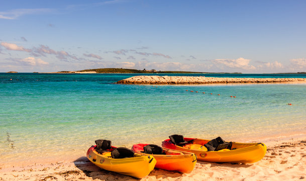 Coco Cay Island, Bahamas - December, 23, 2017. Kayaks on the luxury beach oasis in Coco Cay.