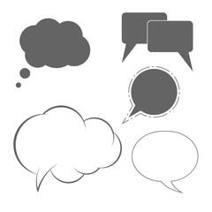 Monochrome Speech Bubbles Set. Vector Design Elements Set for You Design