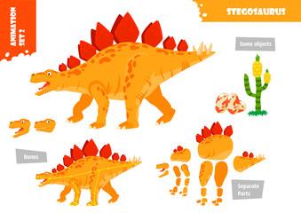 Cartoon Style Dinosaur Stegosaurus Character For Animation Set. Vector Illustration Wall mural
