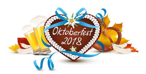 Oktoberfest 2018 - Lebkuchen Herz mit Schriftzug, geschwungener Schleife, Bier, Brezel, Weißwurst und Herbstblätter