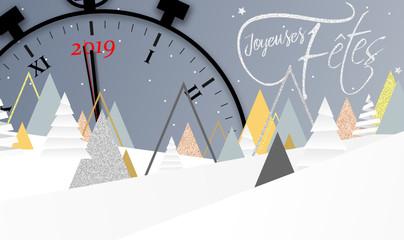 2019 - Bonne année - happy new year - clock - horloge - compte à rebours - countdown