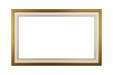 Golden Empty Picture Frame Isolated