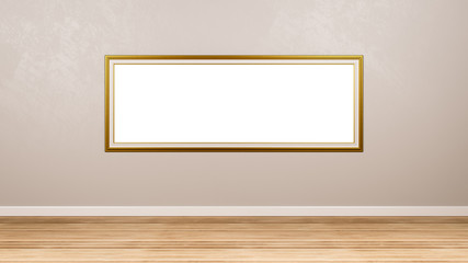 Golden Panoramic Empty Picture Frame at the Wall