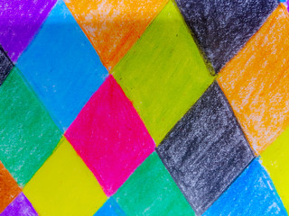 Colorful background drawing with Crayon