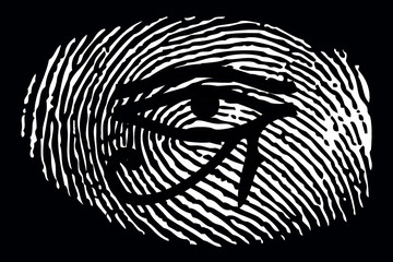 All-seeing eye on a fingerprint on a black background