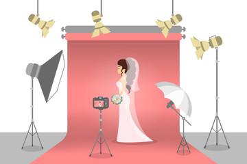 Bride in the photostudio making photoshoot