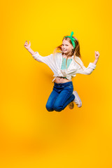 jumping cheerful girl