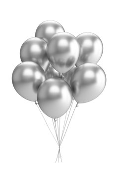 3D Rendering silver Balloons Isolated on white Background