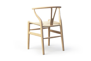 Modern light wood chair. 3d render