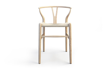 Modern light wood stool. 3d render
