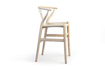 Modern light wood stool. 3d render