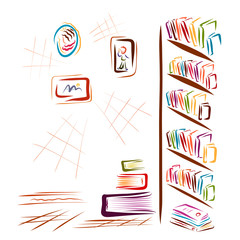 A room with many books and pictures, a library, a bookstore or an office