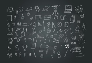 Set of hand drawn educational icons