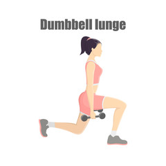 Woman making lunges with dumbbells