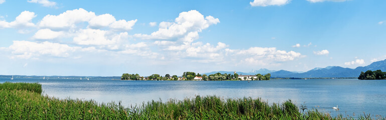 Lake Chiemsee and Fraueninsel in summer