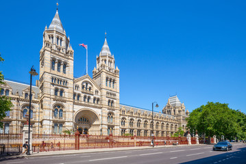 Facade view of Natural History Museum in London