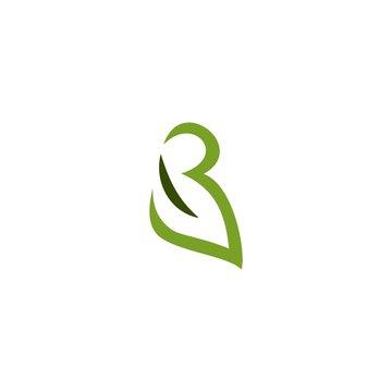 B letter initial leaf logo.