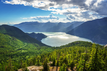 Scenic View of Howe Sound and the Surrounding Mountains on a Summer Day. Squamish, BC, Canada.