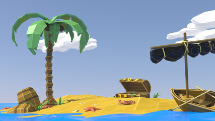 Palm, sand, sea and summer. Low poly. Vacation on a deserted tropical island