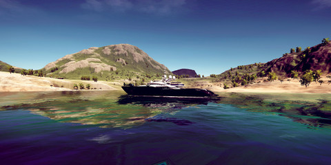 Extremely detailed and realistc high resolution 3D illustration of a luxury vacation at a tropcial Island