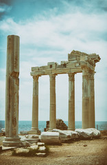 The Temple of Apollo is located at the end of Side's peninsula. Antalya, Turkey