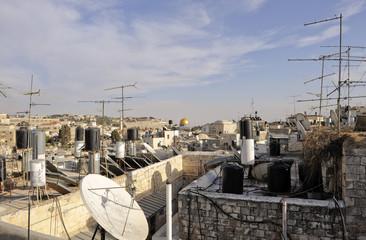 Blick  über die arbaische Altstadt von Jerusalem, Kuppel des Felsendoms, Israel, Naher Osten, Vorderasien