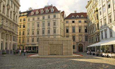 Das Holocaust-Mahnplatz von Rachel Whiteread am Wiener Judenplatz