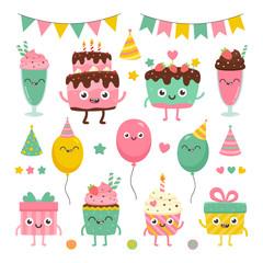 Cute birthday set. Cartoon illustrations of smiling characters: cake, cupcake, present, baloon, milkshake.