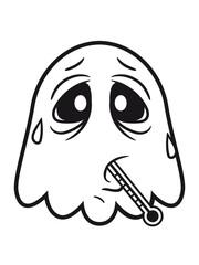 krank fieber erkältet gesund thermometer husten schnupfen geist lachen süß niedlich frech comic cartoon clipart spuken horror monster grusel halloween