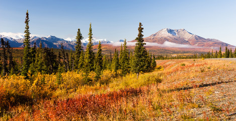 An Ancient Volcano Stands in the Northern Territory of Alaska